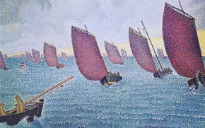 Picture boat, picture, sail, seascape, Paul Signac, pointillism, Concarneau. Return Longbottom