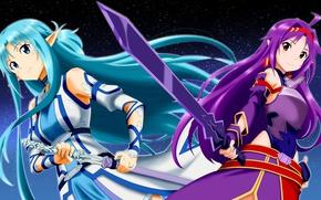 Picture sword, game, armor, anime, fairy, ken, blade, MMORPG, asian, friends, manga, japanese, Yuuki Asuna, Sword …
