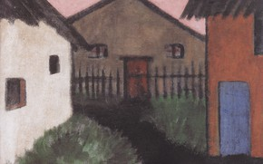 Picture grass, home, Expressionism, Otto Mueller, ca1928, The village of Hauser