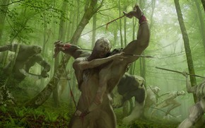 Picture forest, creatures, hunting, monster, Crossbreed