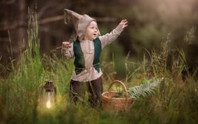 Wallpaper boy, dwarf, grass, lantern, joy