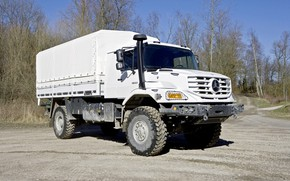 Picture white, Mercedes-Benz, tent, truck, Parking, body, Zetros