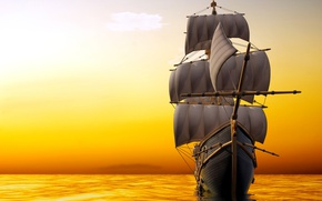 Wallpaper mast, horizon, the sky, sails, sea, sailboat, glow, 3D Graphics, ship