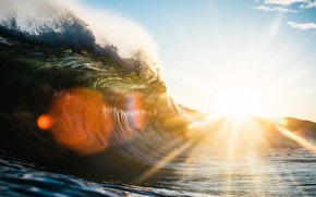Picture The sun, The ocean, Wave
