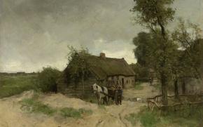 Picture landscape, oil, picture, canvas, Anton Mauve, House on the Dirt Road