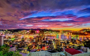 Picture landscape, the city, night lights