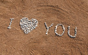 Picture sand, beach, summer, pebbles, stones, summer, love, beach, I love you, romantic, sand, pebbles