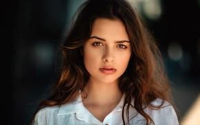 Picture look, background, model, portrait, makeup, hairstyle, brown hair, beauty, in white, bokeh, Zubair Aslam, Jazmin