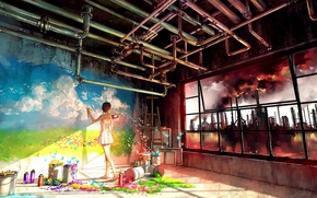 Picture colorful, girl, wall, grass, sky, landscape, smoke, nature, anime, tubes, butterfly, flowers, factory, color, window, …