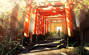Picture anime, art, corridor, girl