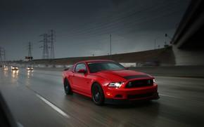 Wallpaper red, highway, rain, Ford Mustang, road, cars