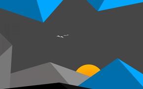 Picture the sun, clouds, landscape, mountains, birds, minimalism
