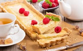 Picture raspberry, tea, Breakfast, morning, pie, cream, filling