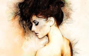 Wallpaper neck, girl, profile, art, hairstyle
