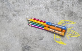Picture Figure, Background, Rocket, Pencil
