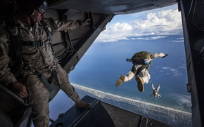 Wallpaper USA, America, aircraft, parachute, jump, bounce, the plane, parachute, the rise, USA, takeoff, America