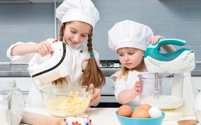 Picture children, girls, kitchen, cook, cook, products, little girls