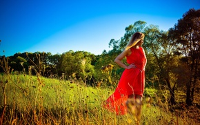 Picture field, grass, girl, trees, dress, blonde, girl, grass, red dress, dress, trees, field, blonde, red …