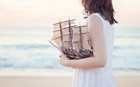 Wallpaper girl, sailboat, mood, boat