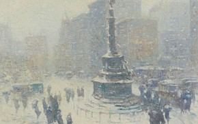 Picture winter, picture, area, the urban landscape, Guy Carleton Wiggins, Columbus Circle. New York