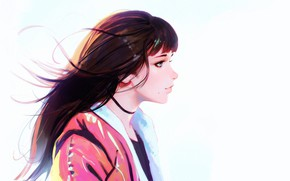 Picture profile, mole, blue eyes, long hair, portrait of a girl, Ilya Kuvshinov