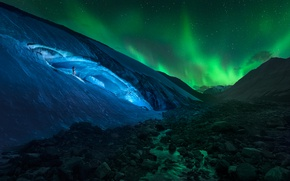 Picture light, mountains, night, stones, rocks, people, Northern lights, glacier, Iceland