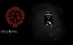Picture fireflies, characters, vampire, Hellsing, pentagram, Alucard, burning eyes, in the darkness, hell of a grin