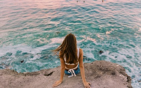 Picture sea, girl, stay, sitting