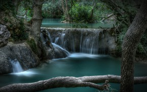 Picture forest, trees, river, France, waterfall, cascade, France, Provence-Alpes-Côte d'azur, Sian-La-Cascade, Sillans-la-Cascade Waterfall