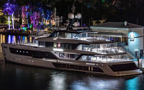 Picture night, the city, palm trees, yacht, lighting