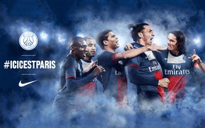 Picture wallpaper, sport, logo, football, Paris Saint-Germain, players