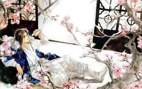 Picture branches, room, stay, figure, Sakura, watercolor, guy, flowering, Japanese clothing, art, sake, Eno