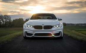 Picture BMW, Clouds, Sky, Green, Sunset, White, LED, F83
