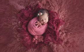 Picture pink, sleep, girl, fur, baby