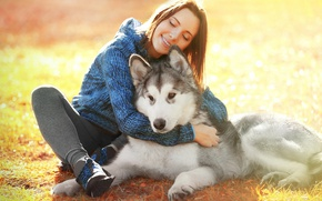 Picture Girl, Dog, Smile, Brown hair, Animals, Husky