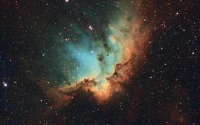 Wallpaper NGC 7380, space, stars, Wizard Nebula
