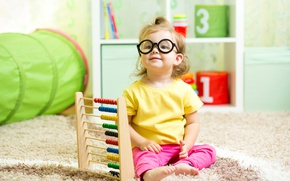 Picture look, carpet, child, glasses, girl, little, child, glance, Sitting, little girls, scores