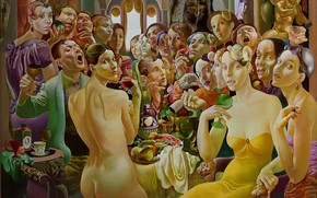 Picture people, feast, 1994, Figurative painting, Normunds Braslins, Society II, Golden angel