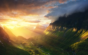 Picture the sky, the sun, light, mountains, valley, Norway, Ålesund