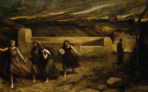 Picture picture, mythology, Jean Baptiste Camille Corot, The Burning Of Sodom, Jean-Baptiste Camille Corot