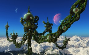 Picture the sky, clouds, mountains, rendering, fantasy, the world, plant, planet, sphere