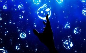 Picture bubbles, hand, under water, Miyuki Harada