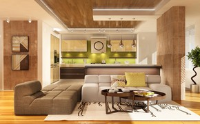 Wallpaper design, kitchen, table, living room, living room, Sofa, Kitchen, design, modern, interior, table, interior, sofa