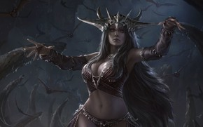 Picture night, fantasy, art, Queen, Chin likhui, Queen of Dark