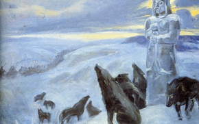 Picture winter, statue, cold, army, Klimenko Andrew, black wolves, Prophetic howl