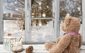 Picture winter, snow, decoration, New Year, window, Christmas, bear, Christmas, winter, snow, window, Merry Christmas, Xmas, ...