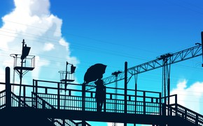 Picture the sky, girl, umbrella, silhouette, overpass