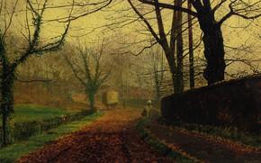 Picture trees, landscape, street, the fence, picture, wagon, John Atkinson Grimshaw, John Atkinson Grimshaw, Autumn Joy. …
