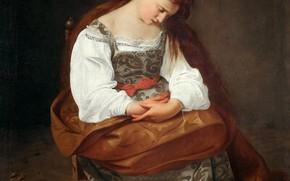 Picture girl, portrait, Caravaggio, Mary Magdalene