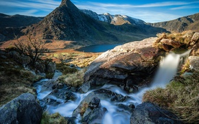 Picture the sun, mountains, lake, stream, stones, UK, Wales, Capel Curig
